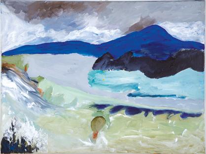 Bild aus Atelier mit blauem Berg