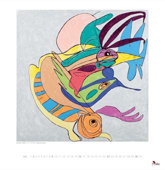 Kalenderbild Vogelfisch und Laufmenschenraupe