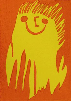 Linoldruck-Karte mit lachendem Männchen