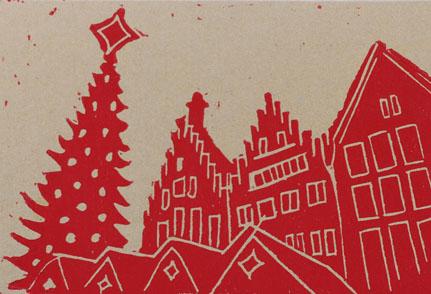Linoldruck Frankfurter Weihnachtsmarkt