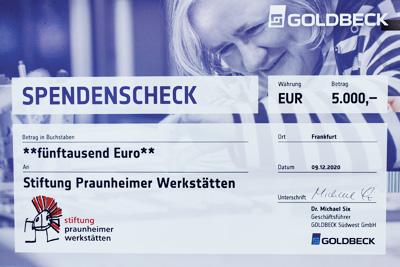 Spendenscheck der Firma Goldbeck